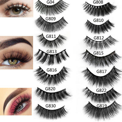 SKONHED 5 Pairs 3D Mink Hair False Eyelashes Thick Wispy Lashes Natural Cross A+