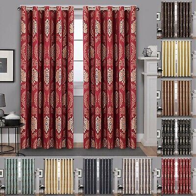 Ready Made Eyelet Fully Lined Floral Leaf Design Heavy Jacquard Pair Curtains