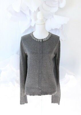 0eb2329577f Sioni Cashmere Cardigan Sweater Women s L Gray Beaded Jeweled Neck LS Career