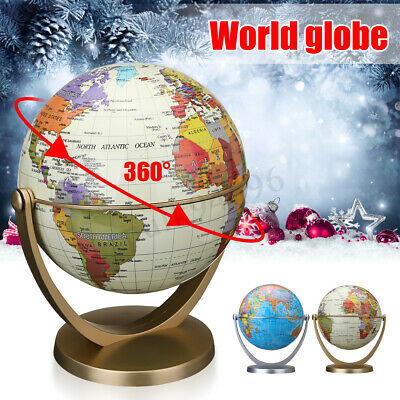 32cm+15cm/25cm+15cm Set Swivel Stand Rotating World Globe Earth Map Decor Gift