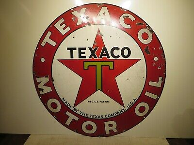 "42"" original 1940 single sided Texaco Motor Oil & Gas Texas Co. Porcelain Sign"