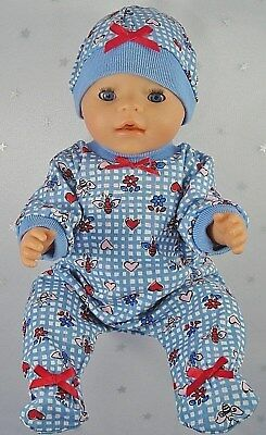 "Dolls clothes for 17"" Baby Born doll~BLUE CHECK~BEES~FLOWERS~HEARTS JUMPSUIT/HAT"