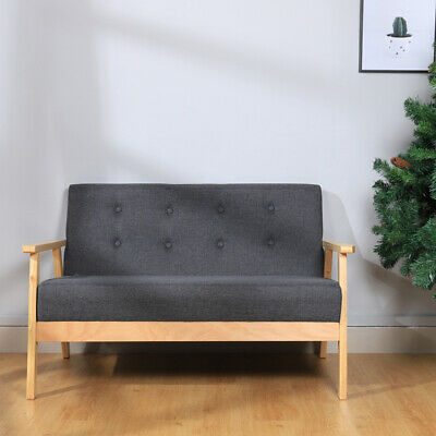 1 or 2 Seater Sofa Wooden Frame Love Seat Sofas Fabric Settee Couch Arm Chairs