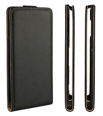 For Samsung Galaxy S2 S3 S4 S5 S6 Mini Black Genuine Leather Flip Case Cover