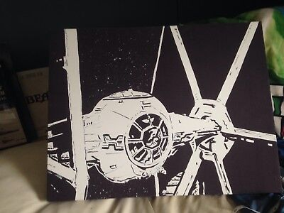 Star Wars Tie Fighter Limited Edition Box Canvas 28/450 68cmx52 stencil art