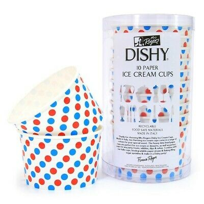 Dishy Italian Made Recyclable Paper Ice Cream Cups x 100 Blue & Red Dots