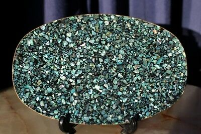 Vintage Tray With PAUA Shell Made In New Zealand
