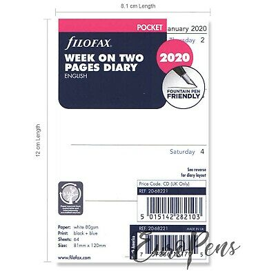 Filofax 2020 Pocket size Diary - Week On Two Pages Refill Insert 20-68221