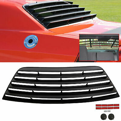 Fits 08-19 Dodge Challenger Window Scoop Louver Rear Sun Shade Cover Black ABS