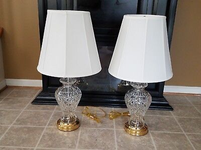 "WATERFORD CRYSTAL KINGSLEY Pair of Table Lamps 29 1/2"" Tall - Lot of 2"