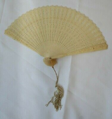 Fabulous Vintage Folding Hand Fan Made in Hong Kong Ivory in Color Plastic