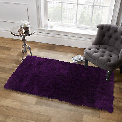 Sienna Shaggy Floor Rug Large Plain Soft Sparkle Mat Thick 5cm Pile Plum Purple