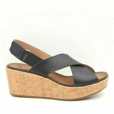 0824a2f20cce CLARKS Stasha Hale Women Leather Cross Band Wedge Sandals Size US 6.5M Black