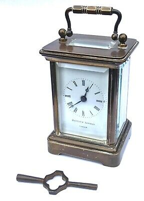 MATTHEW NORMAN CORNICHE CARRIAGE CLOCK Miniature 8 Day Brass Glass Swiss