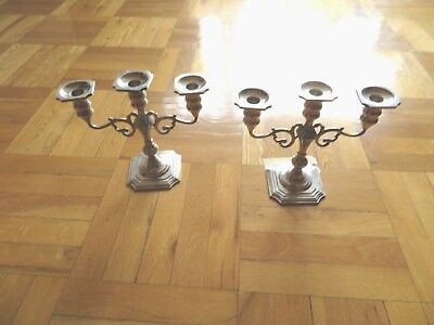 A Pair of Antique Black, Starr and Gorham Sterling Silver Candle Holders