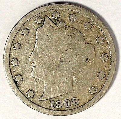 """1908-P  5C Liberty Head Nickel, 17hw1712  """"Only 50 Cents for Shipping""""*"""