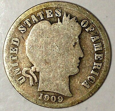 1909-P 10C Barber Dime 18oll2705 90% Silver Only 50 Cents for Shipping