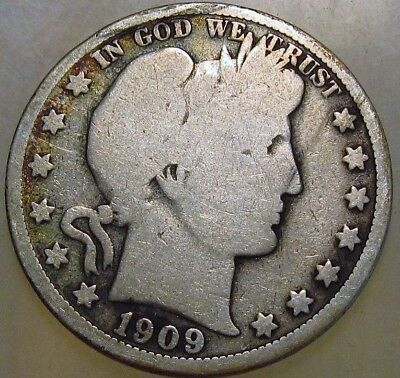 1909-P 50C Barber Half Dollar, 17rcs1009 90% Silver 50 Cents Shipping