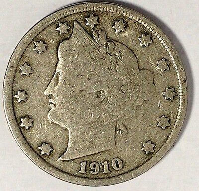 """1910-P  5C Liberty Head Nickel, 17hw1712  """"Only 50 Cents for Shipping""""*"""