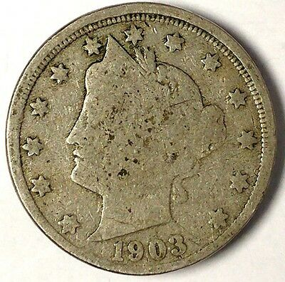 "1903-P  5C Liberty Head Nickel, 17hw1712  ""Only 50 Cents for Shipping""*2"