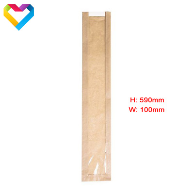 """PAPER FOOD BAGS WITH CELLOPHANE BAGUETTE SANDWICH BAKERY LUNCH H: 23"""" / 59cm"""