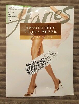 Hanes Absolutely Ultra Sheer Control Top Reinforced Toe Pantyhose Style 706