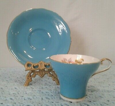 Aynsley #28  Bone China England Teal Tea Cup & Saucer