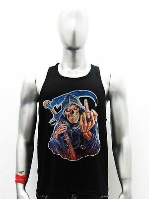 ab423179a4113 Death The Grim Reaper Skull Horror Metal Gothic Biker Men Black Tank Top 3
