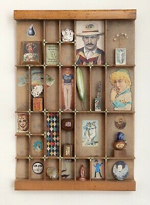 Lovely Printers Tray Cabinet of Curios Themed Artwork with Small Collectables