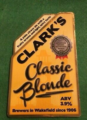 Beer Ale Pump Clip - Clarks Brewery Classic Blonde  - Man Cave  (Ii06)