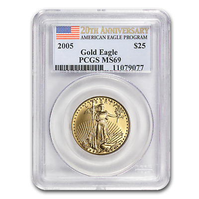 2005 1/2 oz Gold American Eagle MS-69 PCGS (20th Anniv) - SKU #6885