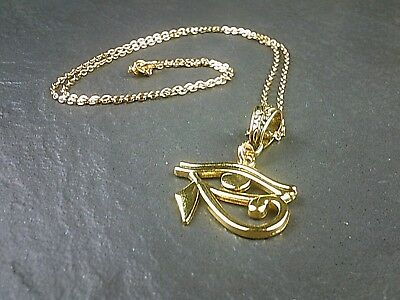Eye of Horus Ra Gold Chain Necklace Egyptian God Protection Symbol UK Seller