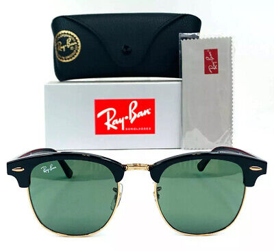 2ed7d57741 RAY-BAN CLUBMASTER SUNGLASSES RB3016 W0365 Black Frame G-15 Green Lens  51-21mm -  199.99