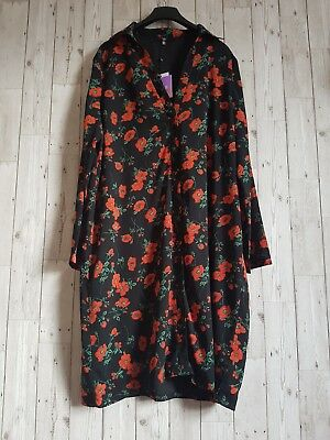 91257d4cbcc BNWT Missguided Black Red Floral Print v neck party Midi Winter Dress Size  18