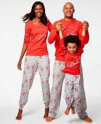 Macy s Family Pajamas Red Grey Believe Santa Claus Pajamas Set Kids Mens  Women s 5cf8d6171