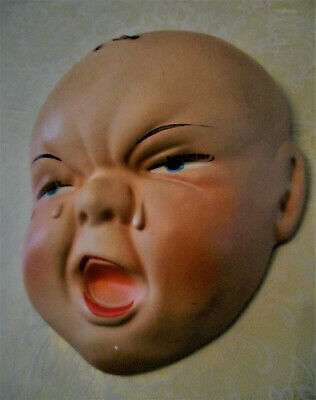 VINTAGE Ceramic Baby Head Face Wall Hanging Plaque ca 1942 set of two