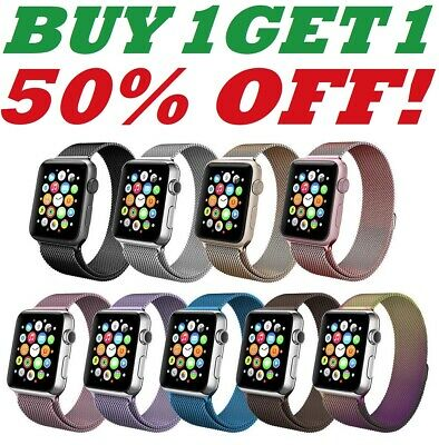 For Apple Watch Magnetic Milanese Loop Band Strap Stainless Steel 38/40/42/44mm