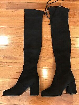 c941ea51944 Kaitlyn Pan Women s Microsuede Flat Heel Over The Knee Thigh High Boots  Size 7.5