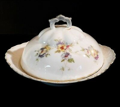 Herman Ohmne Silesia Germany China Cheese Butter Dish Gold Trim Floral Pattern
