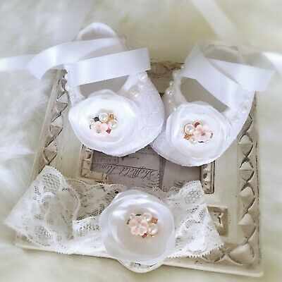 Baby Girl White Christening Shoes Baptism Shoes Satin Flower Lace Headband Set