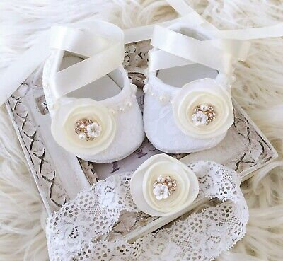 Baby Girl Ivory Christening Shoes Baptism Shoes Satin Flower Lace Headband Set