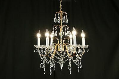 Crystal Prism & Ball 6 Candle Vintage Chandelier #30661