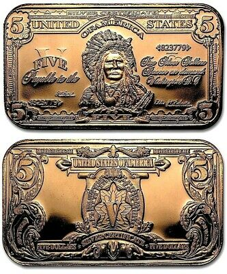 Indian Chief $5 Dollar Banknote 1oz. Pure Copper Bullion Bar!!