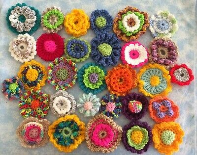 30 Hand Crochet Flowers Lots Of Colours New