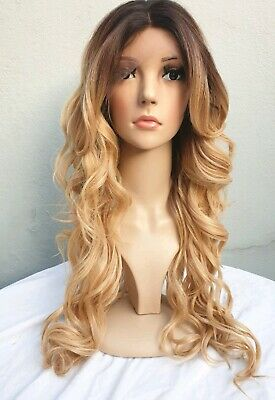 Blonde Human Hair Wig, Real Hair, side fringe, Ombré, Free Part, Lace Frontal