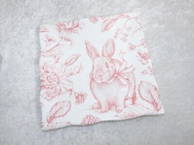 222 Fifth Oakley Square Plate Salad Appetizer Easter Bunny & Flower White & Pink