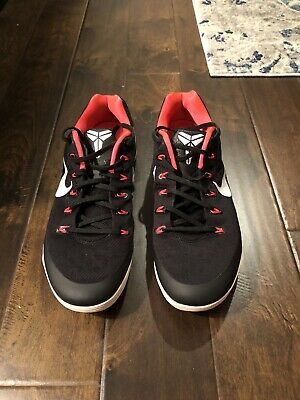 finest selection 59a43 e469e Nike Kobe 9 EM Black White-Laser Crimson-Wolf Grey Size 14