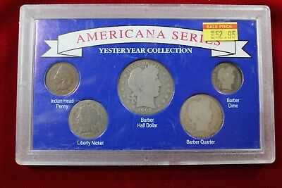 Yester Year Coin Collection, Americana Collection, Barber Dime, Quarter, Half