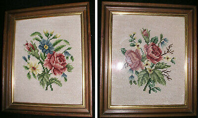Set of 2 Vintage Needlepoint Roses w Frame Glass 13X10 Hand Stitched Green Pink