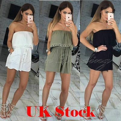 UK Womens Off the Shoulder Jumpsuit Ladies Summer Mini Playsuit Shorts Size 6-18
